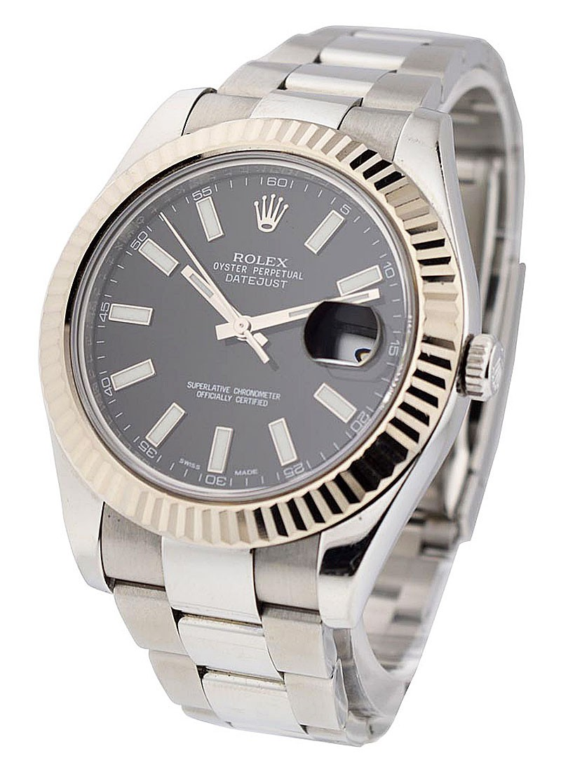 Pre-Owned Rolex Datejust II in 41mm  Steel with White Gold Fluted Bezel