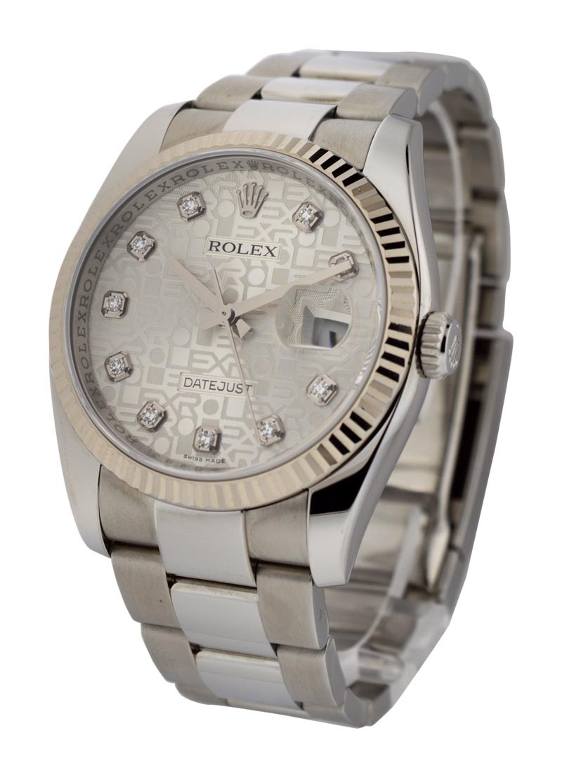 Rolex Used Datejust in Steel with Fluted White Gold Bezel