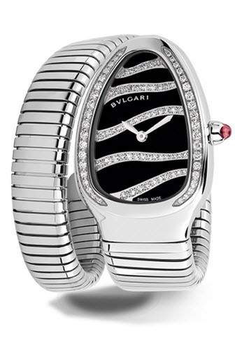 Bvlgari Serpenti Tubogas 35mm in Stainless Steel Set With Diamonds