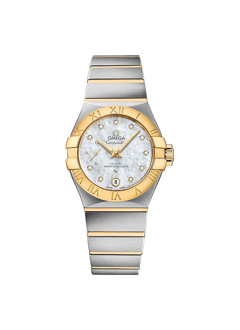 Omega Constellation Ladies in Steel with Yellow Gold Bezel