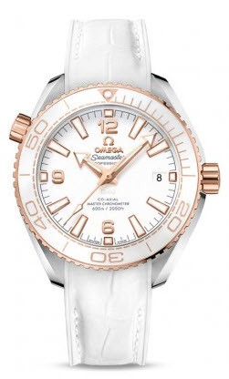 Omega Seamaster Planet Ocean Date Mens in Steel with Rose Gold White Bezel