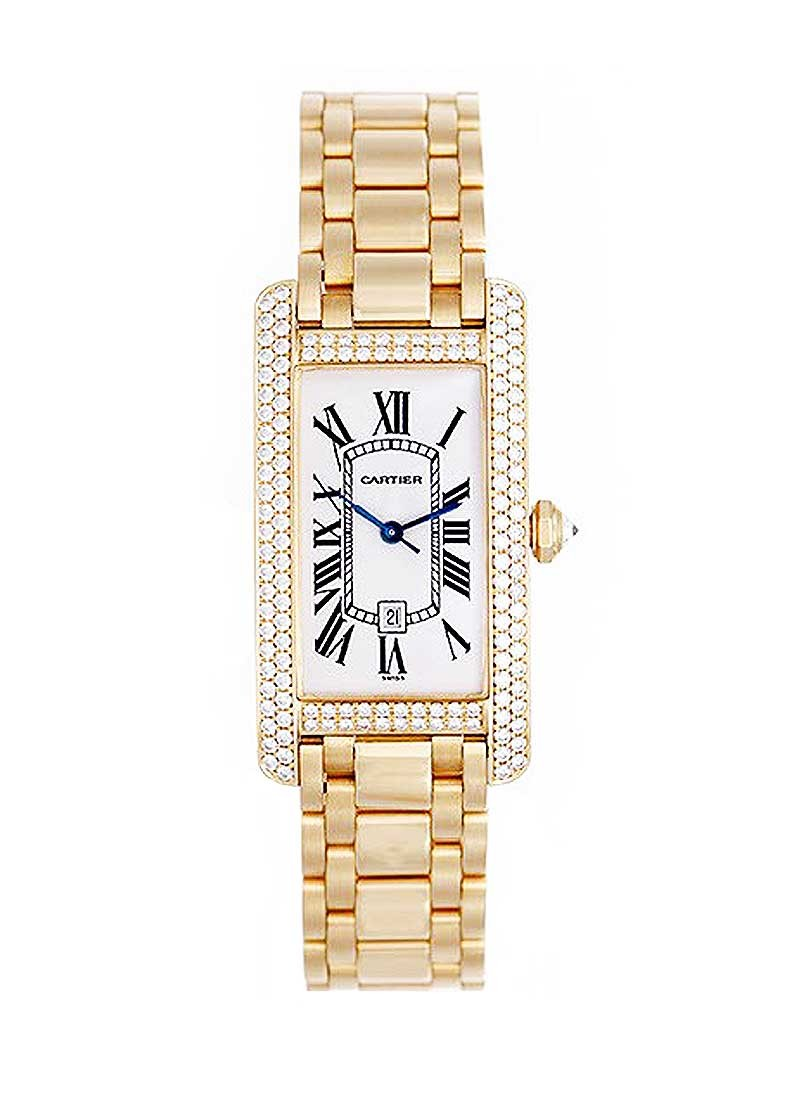 Cartier Tank Americaine Midsize Ladies Automatic in Yellow Gold with Diamonds