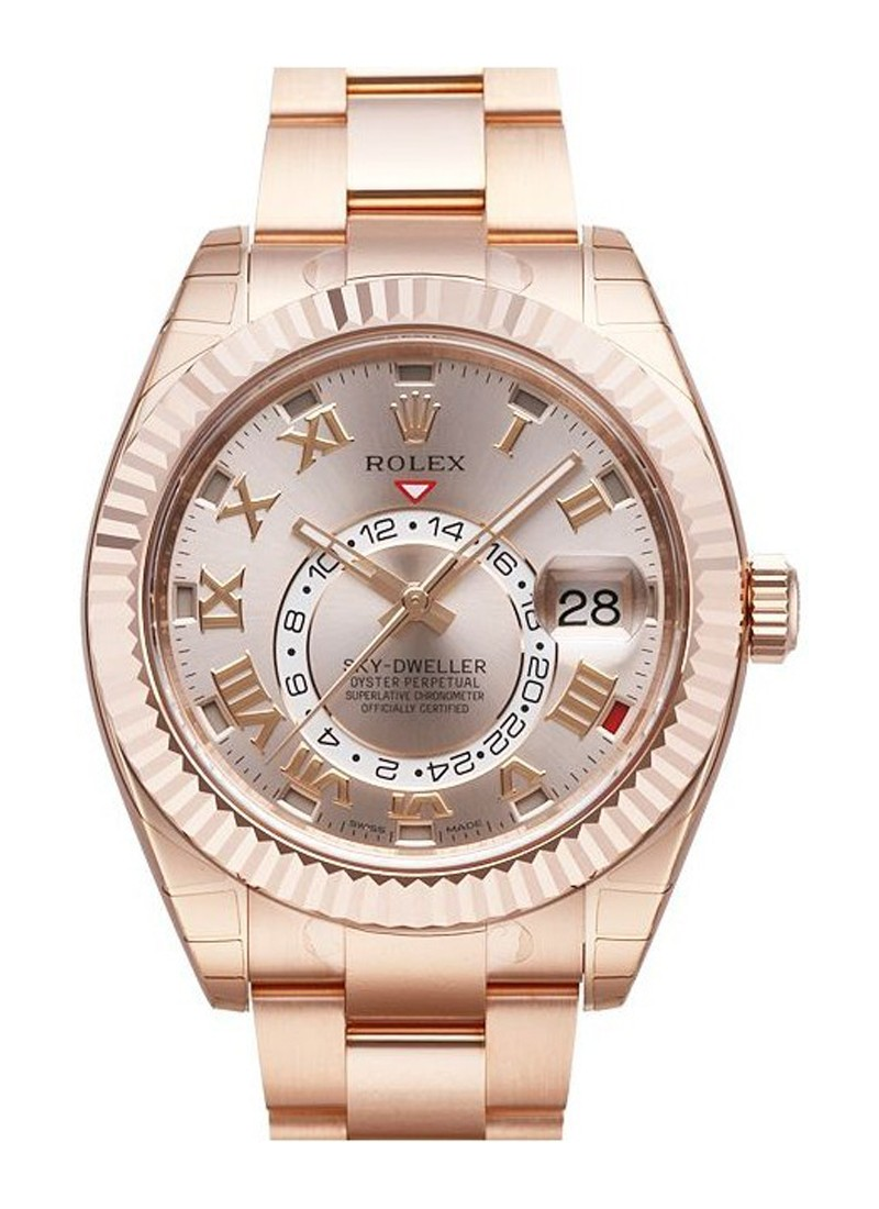 Rolex Used Sky Dweller 42mm in Rose Gold With Fluted Bezel