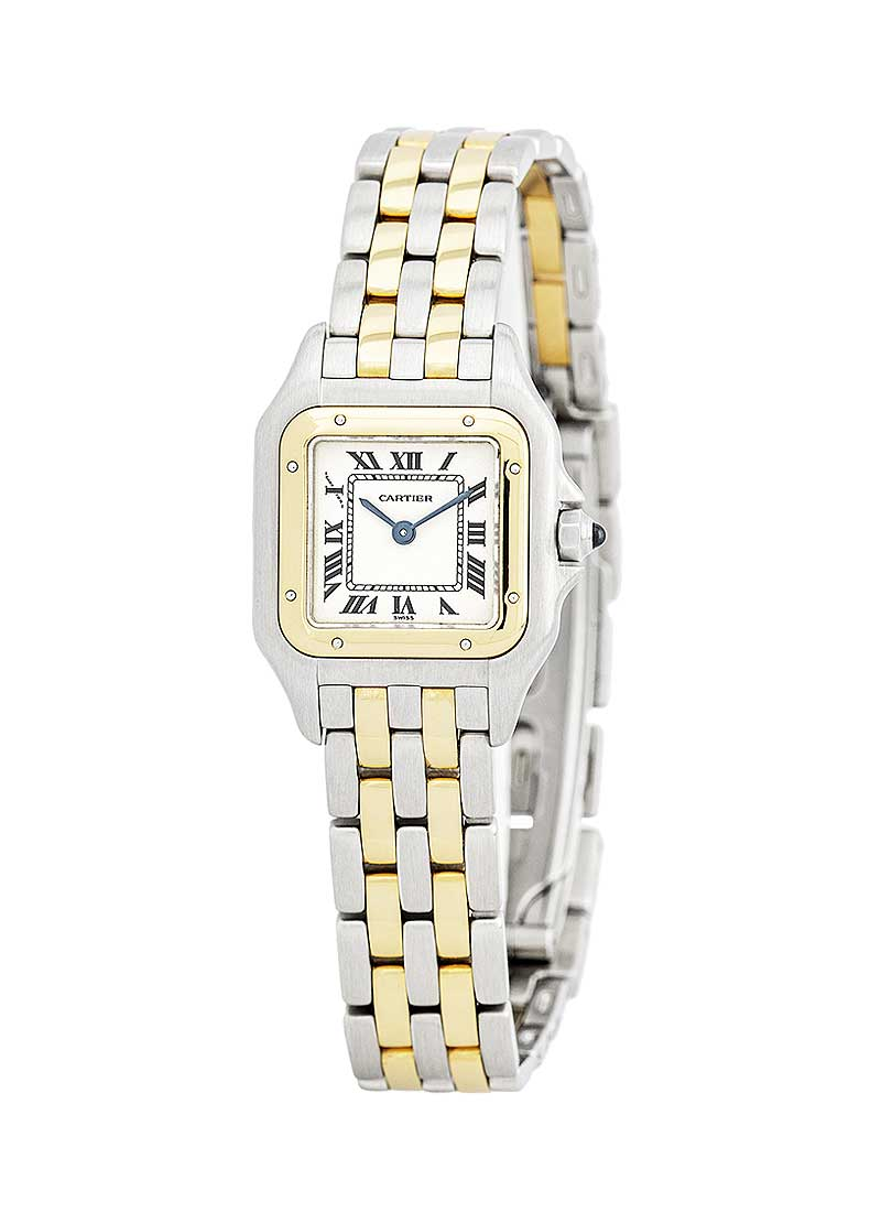 Cartier Panthere Mens 22mm Quartz in Steel with Yellow Gold Bezel