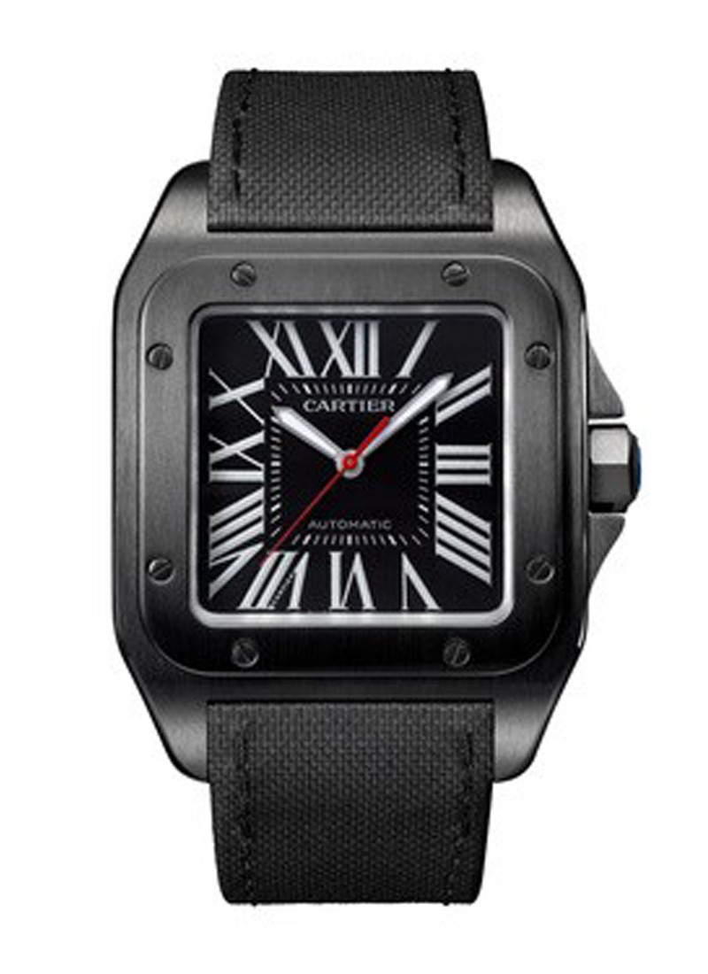 Cartier Santos 100 Carbon Watch in ADLC Coated Steel