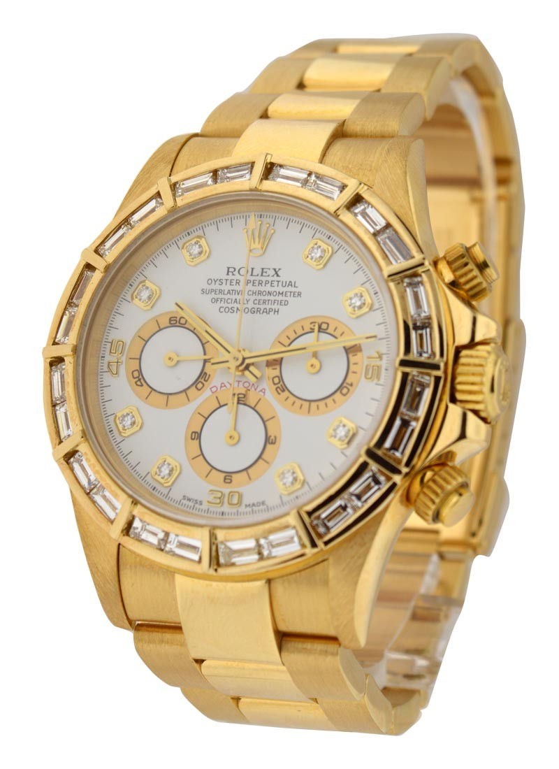 Rolex Used Yellow Gold Daytona with Aftermarket Baguette Bezel
