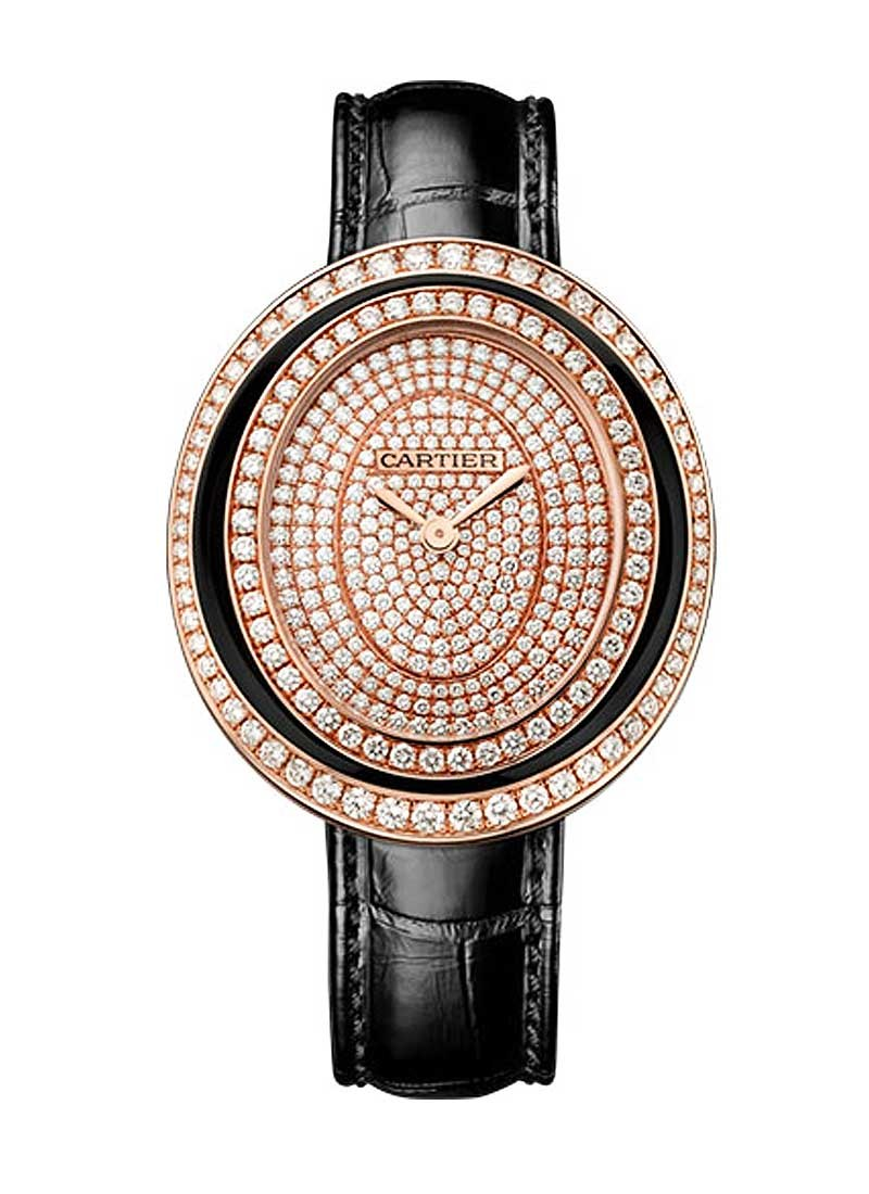 Cartier Hypnose Ladies  Quartz in Rose Gold with Diamond Bezel