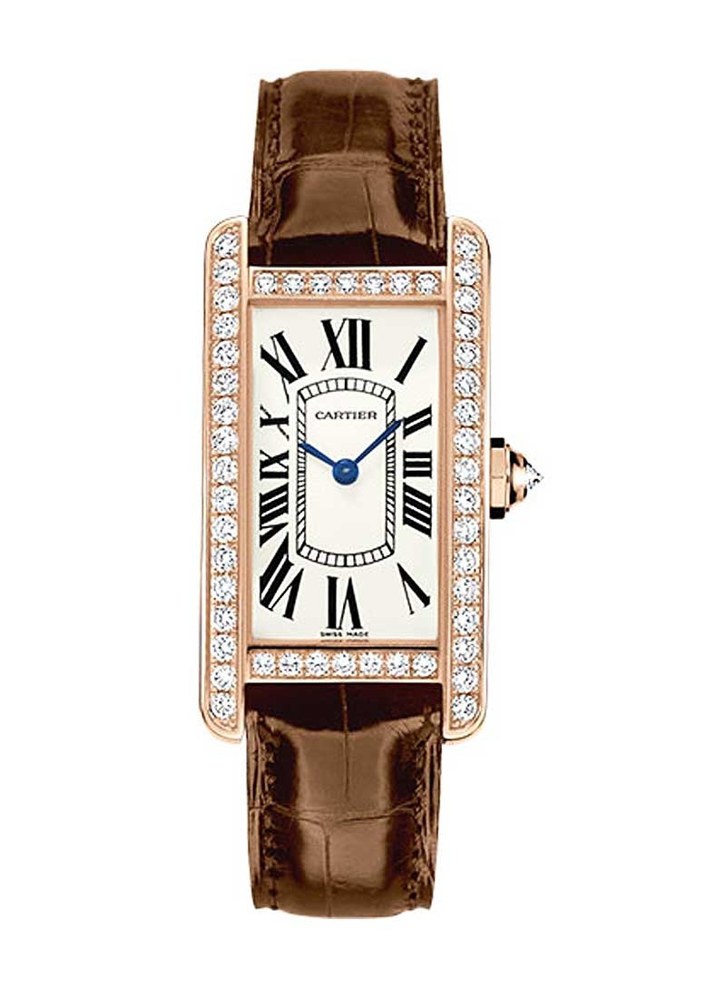 Cartier Tank Americaine Mens Medium Quartz in Rose Gold with Diamond Bezel