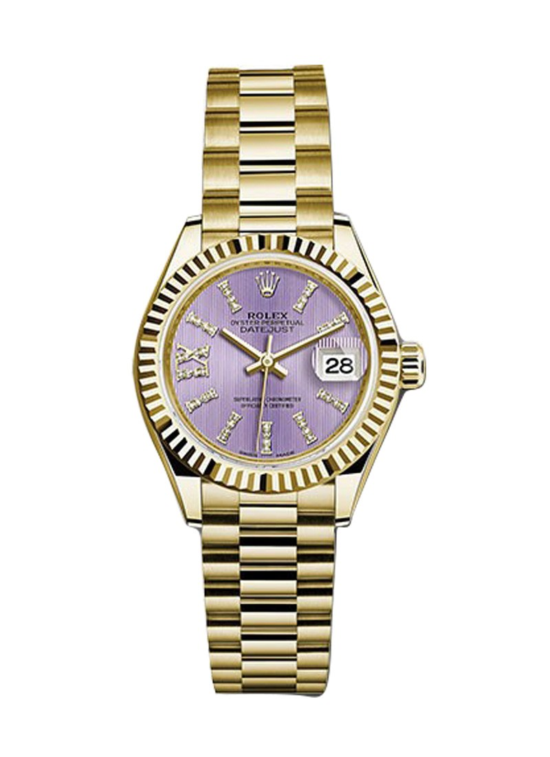 Rolex Unworn Rolex Lady's President 28mm in Yellow Gold with Fluted Bezel