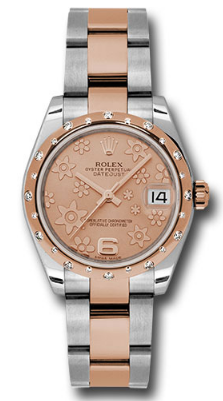 Rolex Used  Midsize Steel and RG Datejust with 24 Diamond Bezel