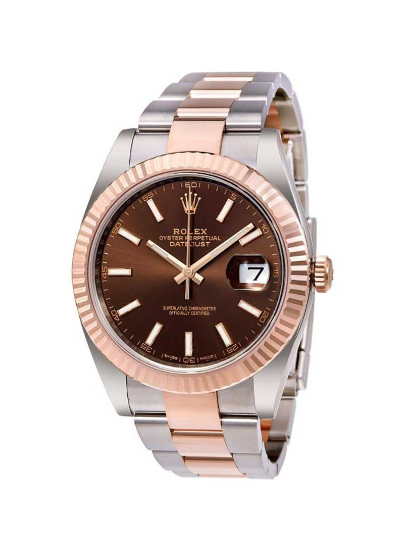 Rolex Unworn Datejust 41mm in Steel with Rose Gold Fluted Bezel