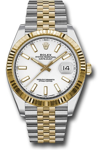 Rolex Unworn Datejust 41mm in Steel and Yellow Gold with Fluted Bezel
