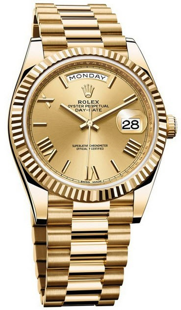 Rolex Unworn Day Date 40m Mens Automatic  Yellow Gold   Fluted Bezel