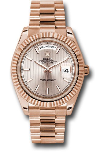 Rolex Unworn Day Date Mens 40mm in Rose Gold with Fluted Bezel