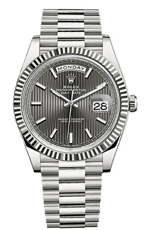 Rolex Unworn Day Date 40mm White Gold   Fluted Bezel
