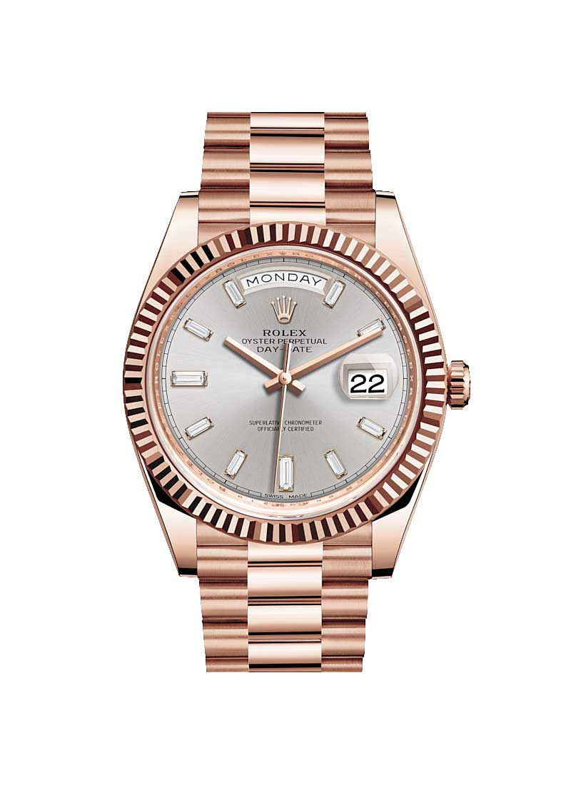 Rolex Unworn Day-Date 40mm in Rose Gold with Fluted Bezel