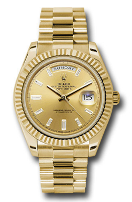Rolex Unworn Day Date 40mm Automatic inYellow Gold with Fluted Bezel