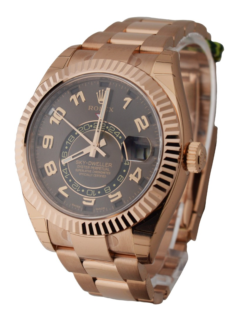 Rolex Used Sky Dweller in Rose Gold with Fluted Bezel