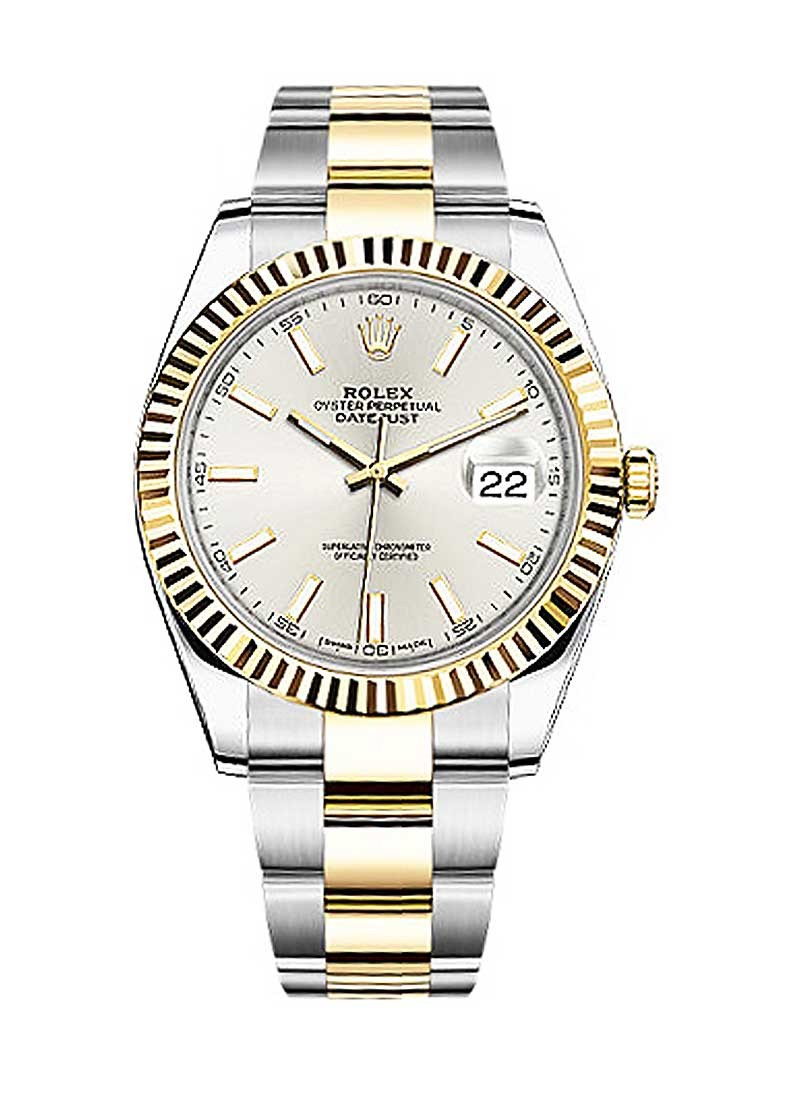 Rolex Unworn Datejust 41mm in Steel with Yellow Gold Fluted Bezel