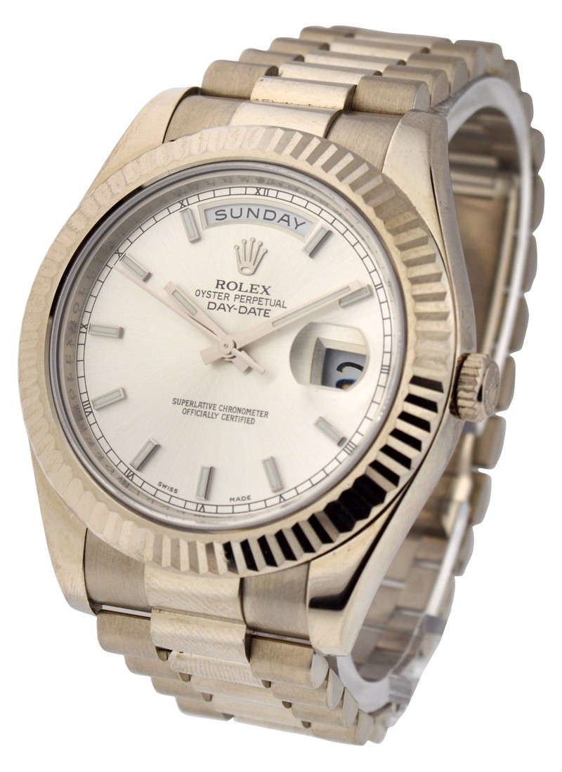 Rolex Used President Day Date 41mm in White Gold Fluted Bezel