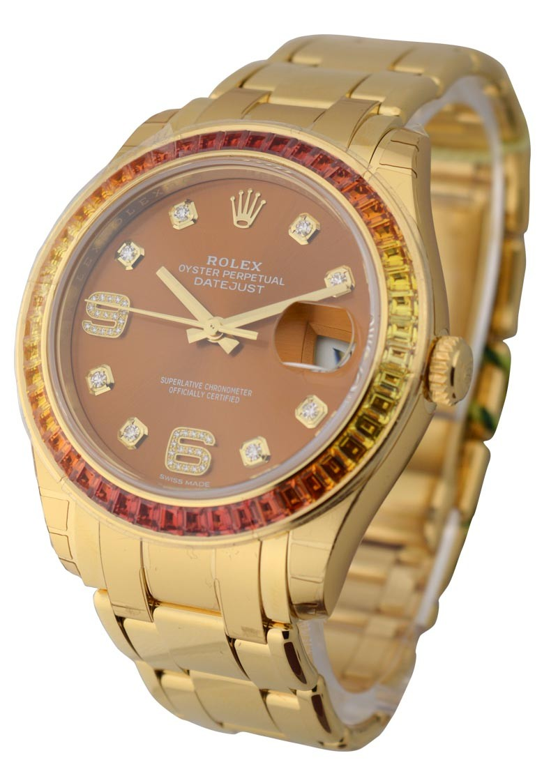 Rolex Unworn 39mm Yellow Gold Masterpiece with Baguette Cut Sapphire Bezel