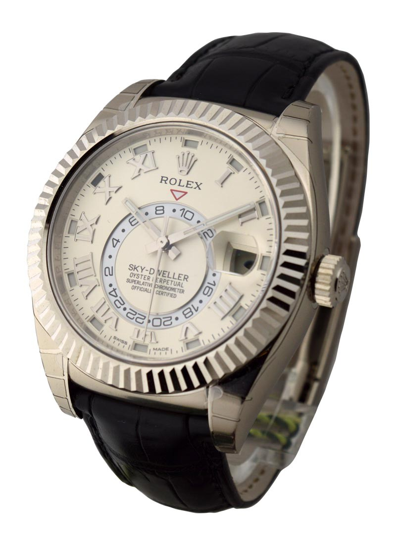 Rolex Unworn Sky Dweller Oyster 42mm in White Gold with Fluted Bezel