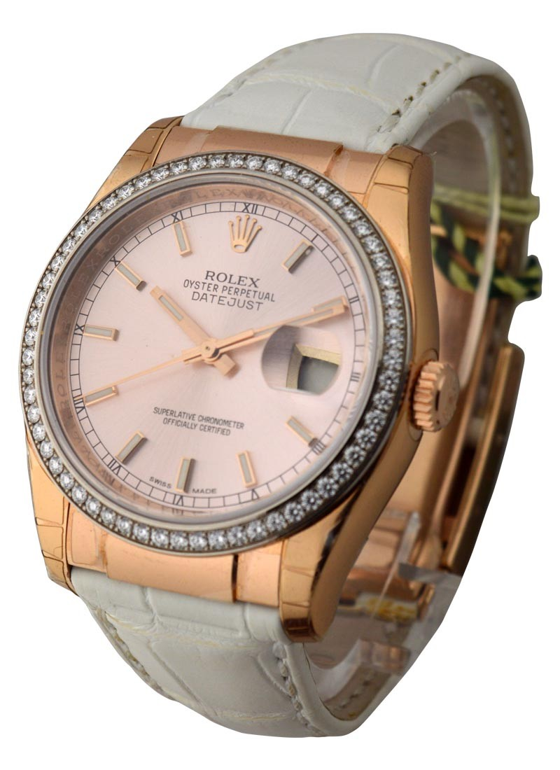 Rolex Unworn Rose Gold 36mm Datejust on White Leather Strap