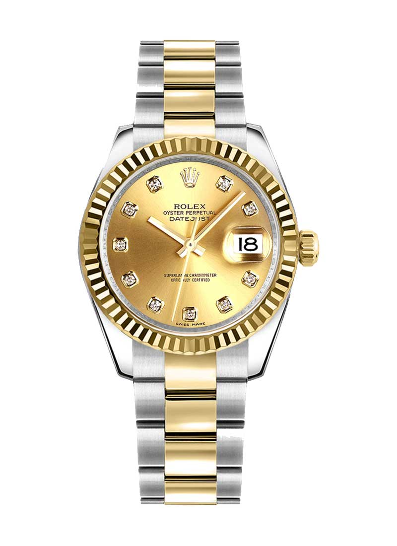 Rolex Unworn Datejust 31mm in Steel with Yellow Gold Fluted Bezel