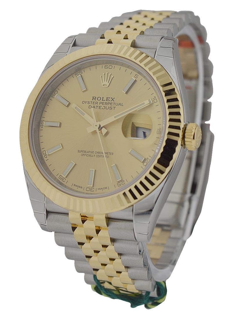 Rolex Unworn Datejust 41mm   Steel and Yellow Gold   Fluted Bezel