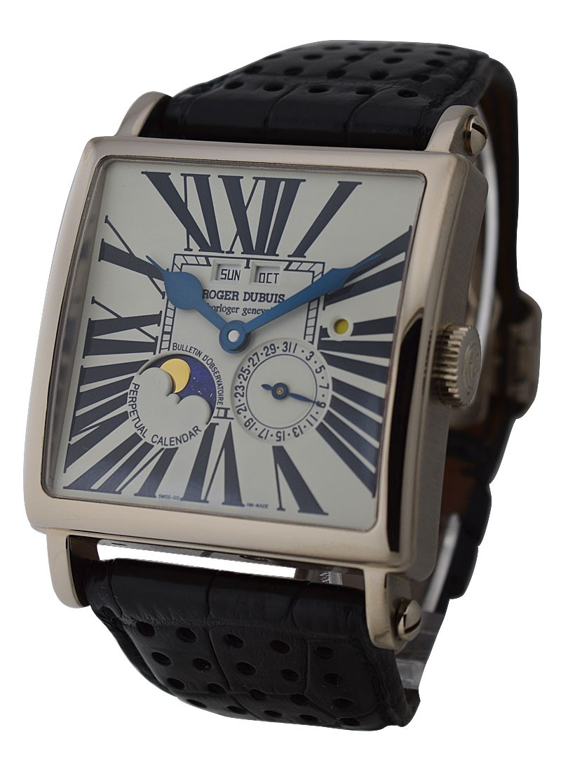 Roger Dubuis 40mm Golden Square Perpetual Calendar in White Gold