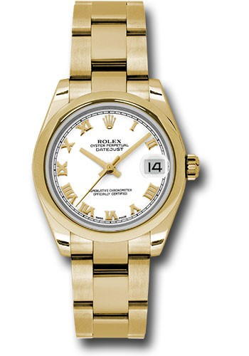Rolex Unworn Datejust 31mm Mid Size in Yellow Gold with Domed Bezel