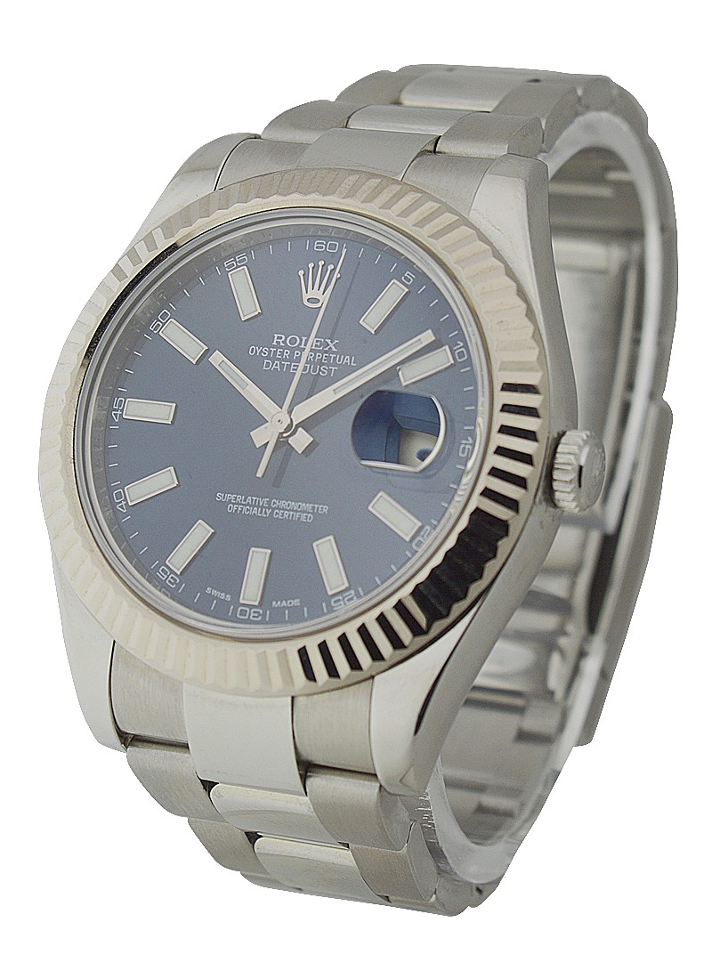 Rolex Used Datejust II  41mm Ref 116334 with Blue Stick Dial