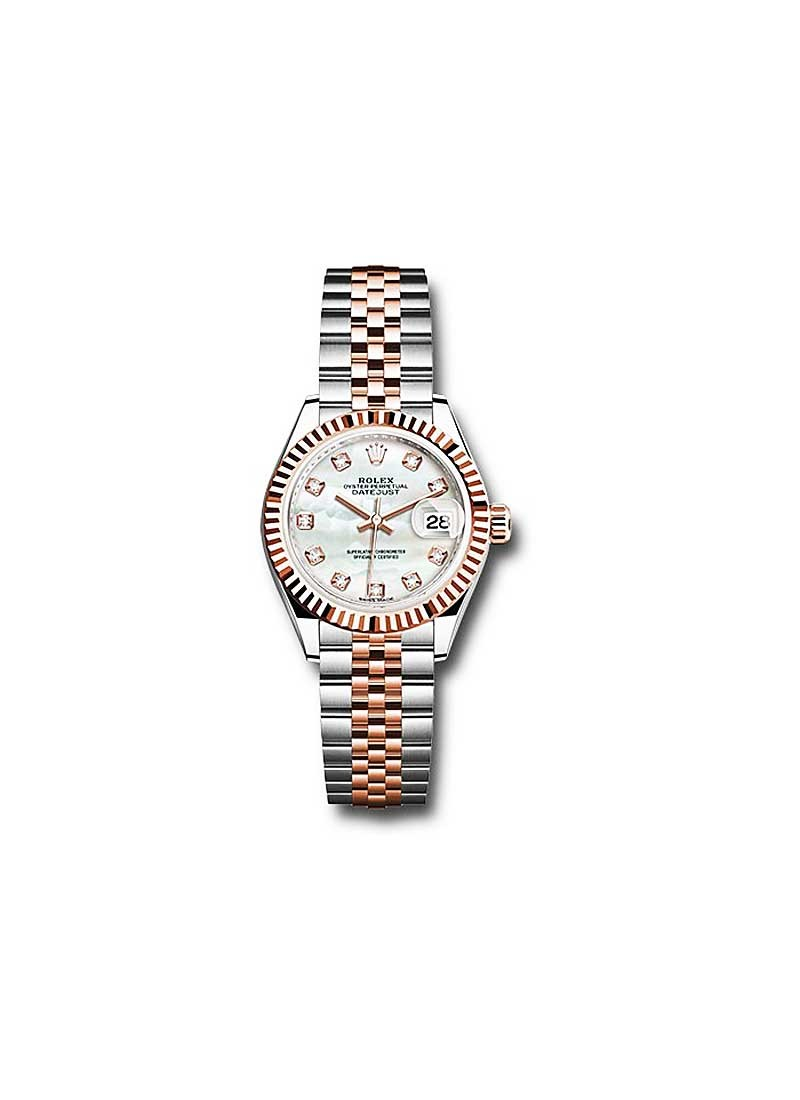 Rolex Unworn Datejust Ladies 28mm Automatic in Steel and Rose Gold with Fluted Bezel