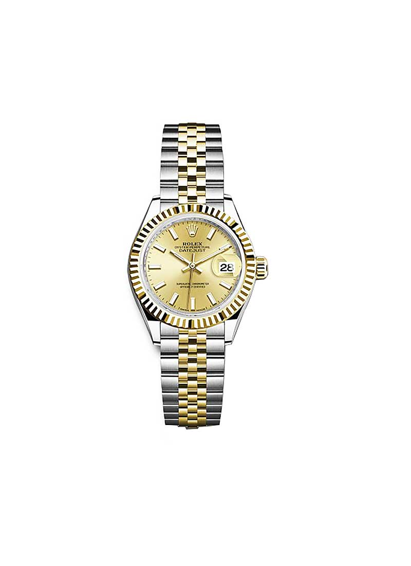 Rolex Unworn Datejust Ladies 28mm Automatic in Steel and Yellow Gold with Fluted Bezel