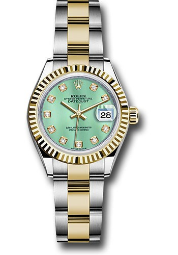 Rolex Unworn Datejust 28mm Automatic in Steel and Yellow Gold with Fluted Bezel