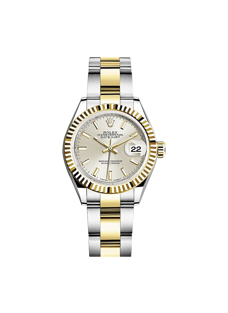 Rolex Unworn Datejust Ladies 28mm Automatic in Steel with Yellow Gold Fluted Bezel