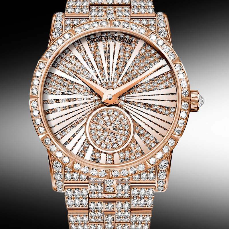 Roger Dubuis Haute Joaillerie Excalibur 36 Automatic in Rose Gold with Fully Pave Diamonds