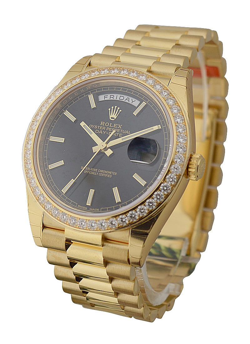 Rolex Unworn Day Date 40mm in Yellow Gold with Diamond Bezel