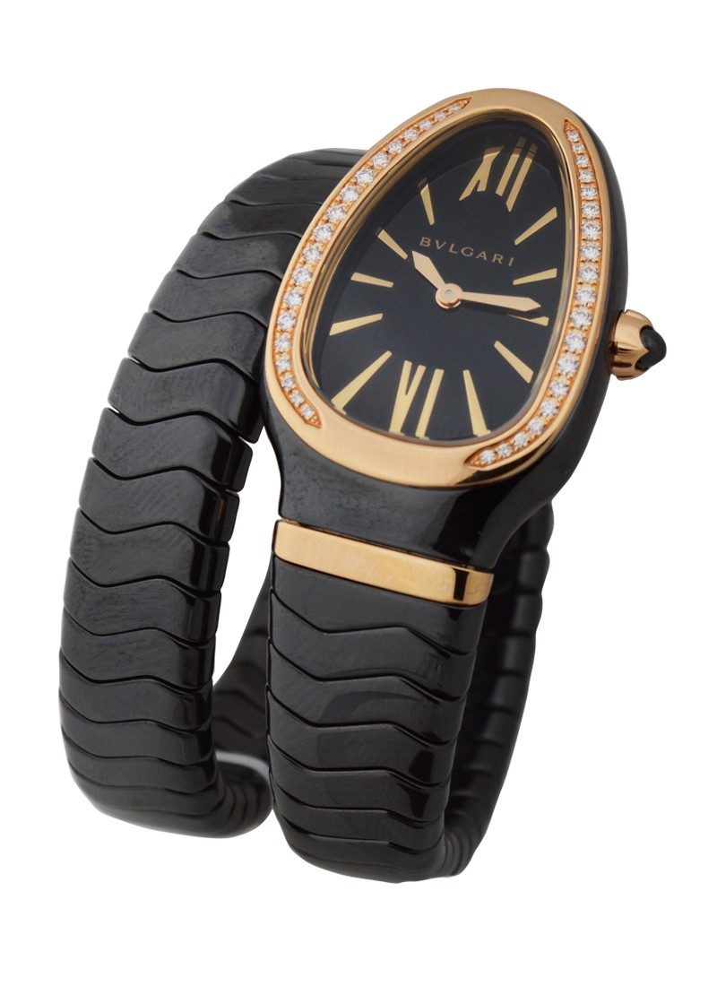 Bvlgari Serpenti Ladies Black Ceramic and Rose Gold