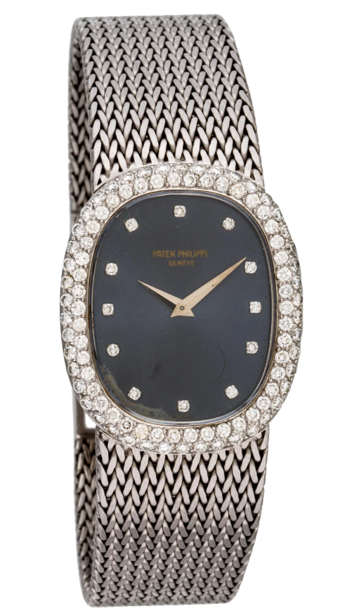 Patek Philippe Ellipse Ladies Manual in White Gold with Diamond Bezel