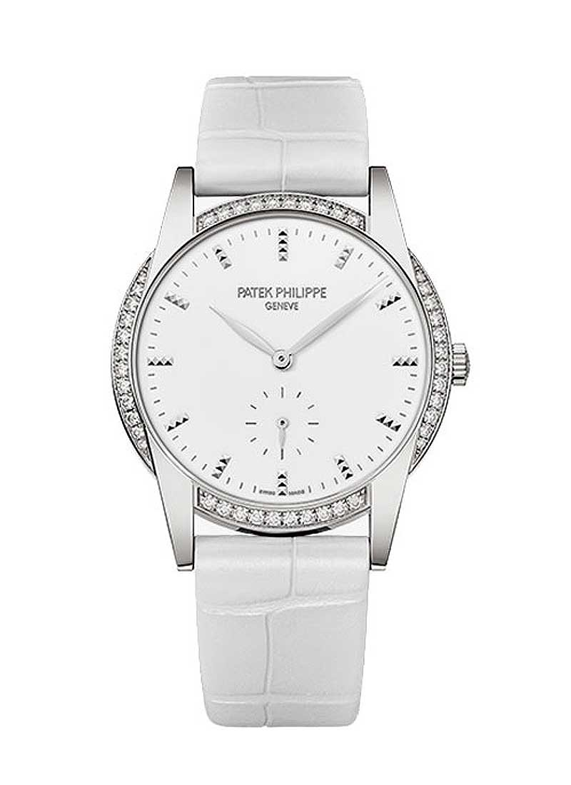 Patek Philippe Calatrava Ref 7122/200G 001 in White Gold with Diamond Bezel
