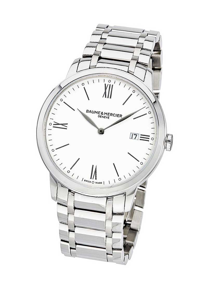 Baume & Mercier Classima Quartz  Roman Numerals Round Case 40mm in Steel