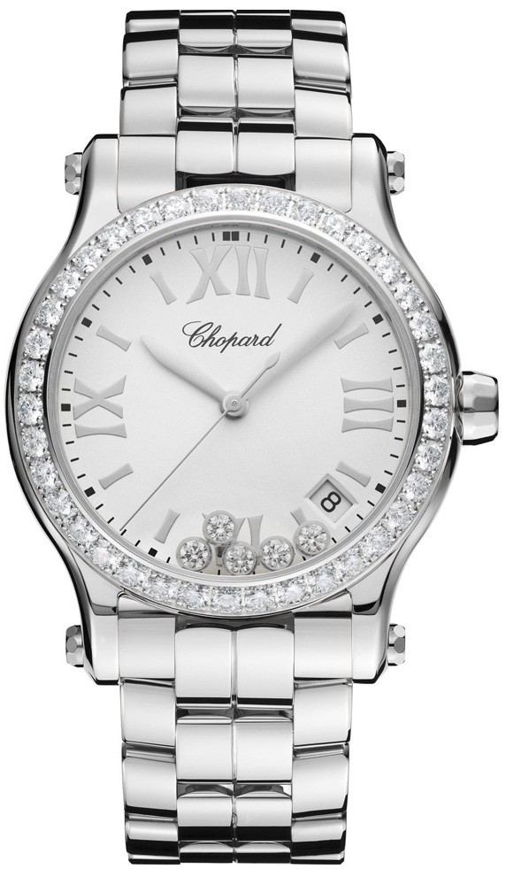 Chopard Happy Sport Round Quartz in Steel with Diamond Bezel