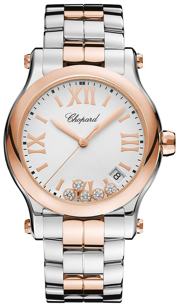 Chopard Happy Sport Round Quartz in Steel and Rose Gold