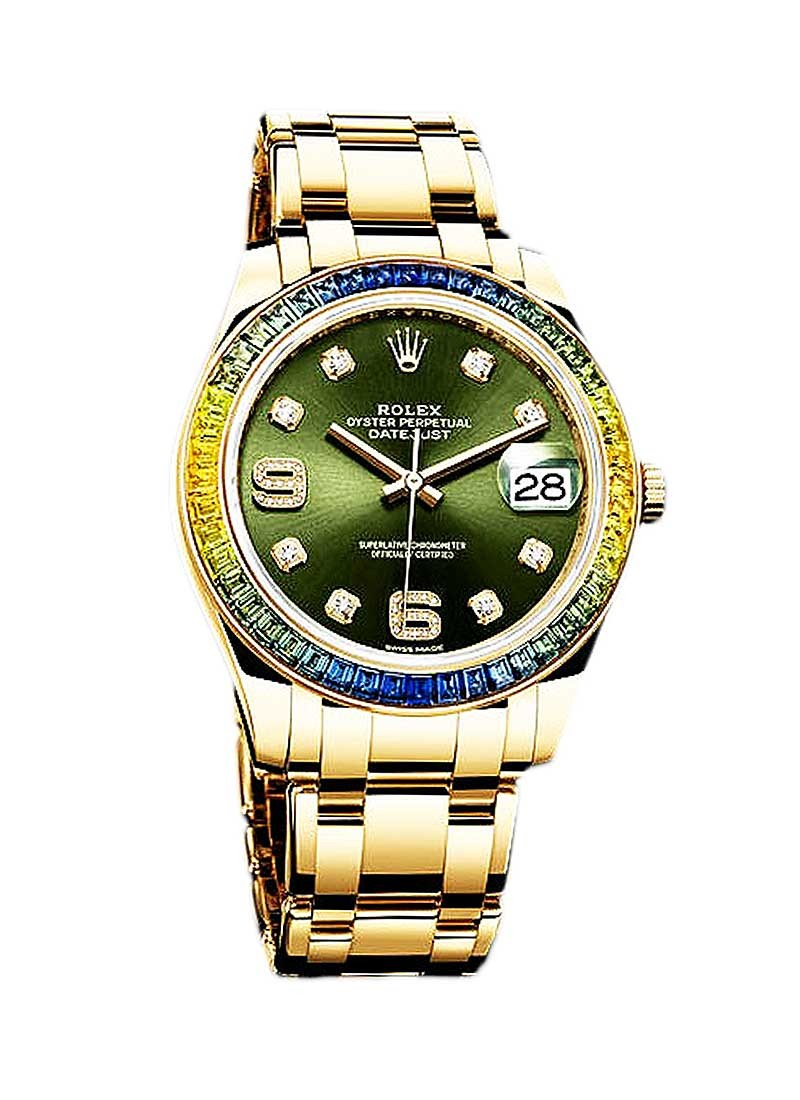 Rolex Unworn Perpertual Pearlmaster 39mm in Yellow Gold with Blue and Green Sapphire Bezel