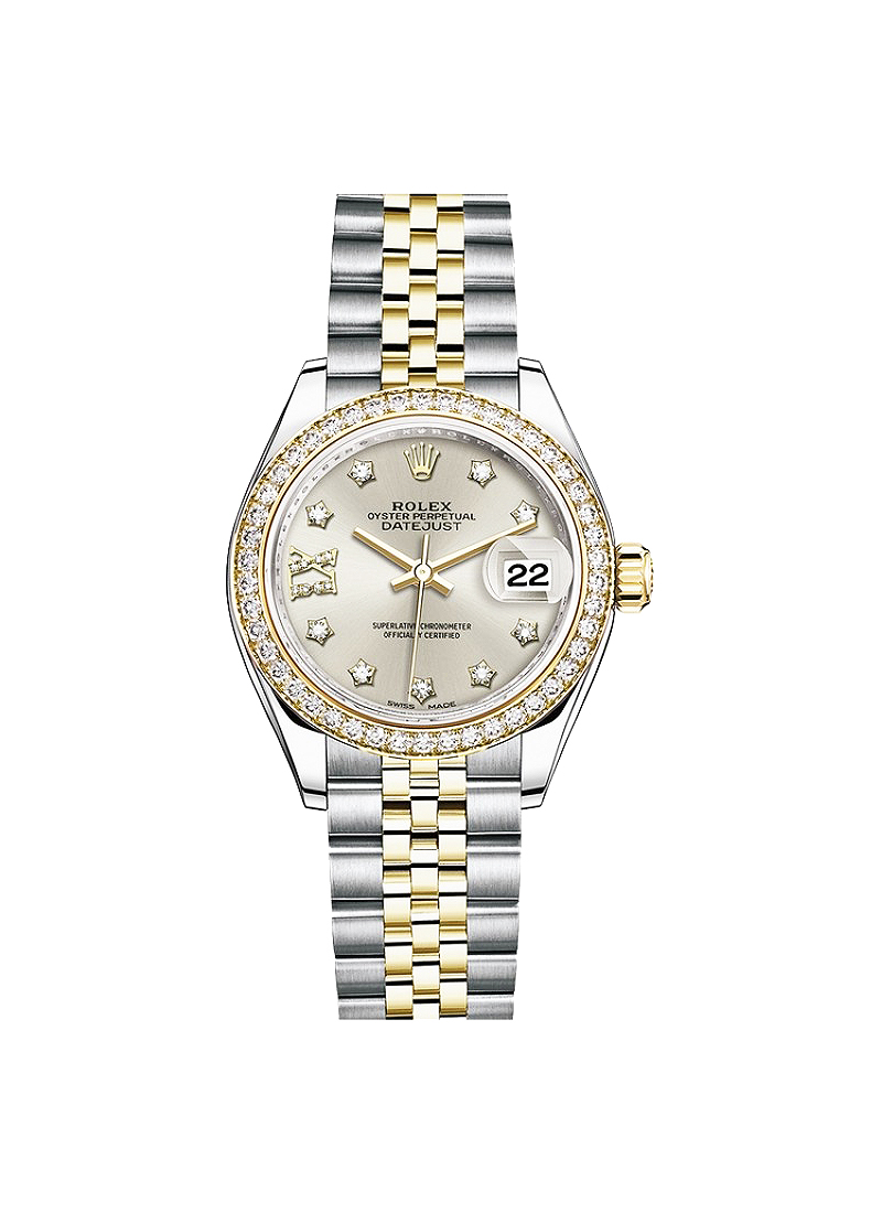 Rolex Unworn Datejust 28mm in Steel with Yellow Gold Diamond Bezel