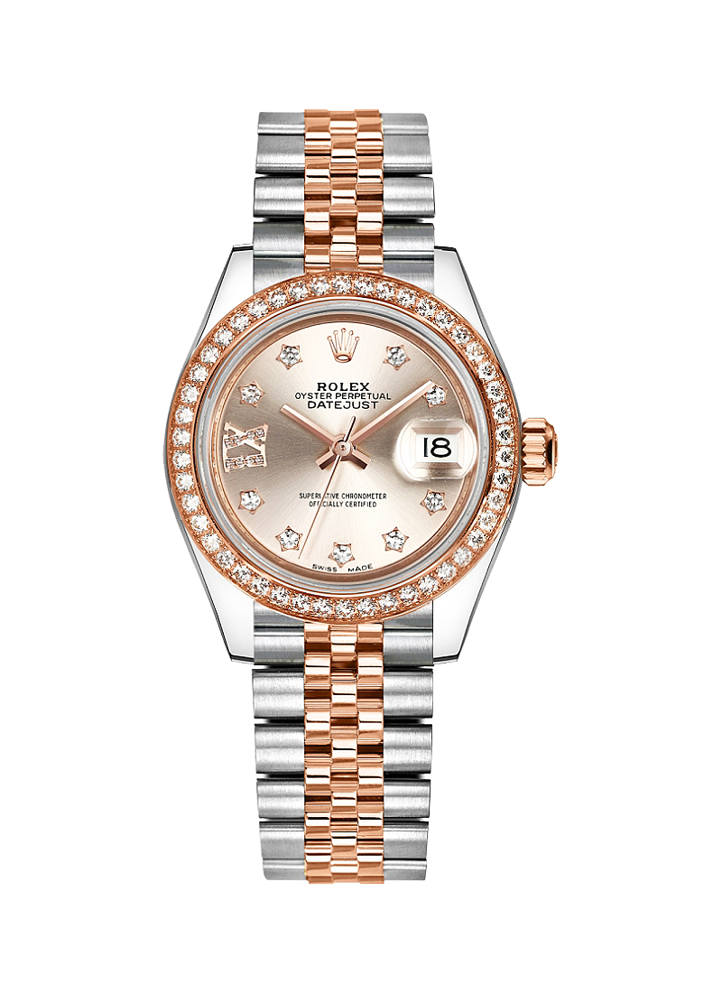 Rolex Unworn Datejust 28mm Steel and Rose Gold with Diamond Bezel