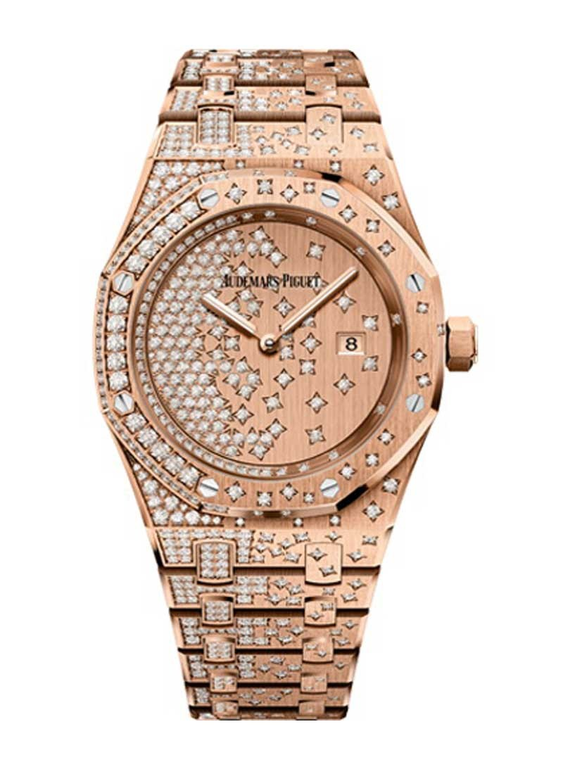 Audemars Piguet Royal Oak 33mm in Rose Gold with Diamond Bezel