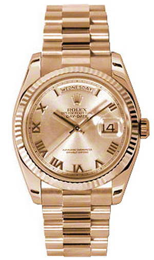 Rolex Unworn President Day-Date in Rose Gold with Fluted Bezel