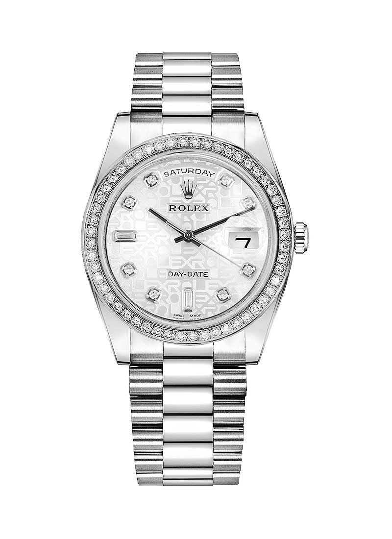 Rolex Unworn Day Date 36mm in Platinum Diamond Bezel